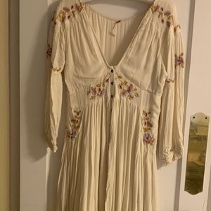 Free People boho embroidered maxi dress.
